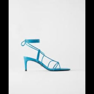 NEW | Zara Leather Blue Collection Lace Sandal